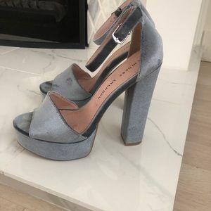 Chinese Laundry Velvet Platform Peep Toe Heels